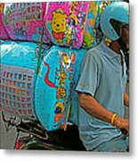 Winnie The Pooh On A Scooter In Bangkok-thailand Metal Print