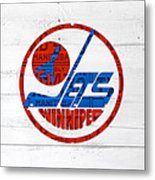 Winnipeg Jets Retro Hockey Team Logo Recycled Manitoba Canada License Plate Art Metal Print