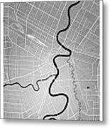 Winnipeg Street Map - Winnipeg Canada Road Map Art On Colored Ba Metal Print