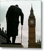 Winston Churchill Facing Big Ben Metal Print