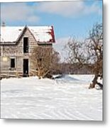 Winter Abandoned Farmouse Metal Print