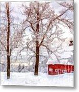Winter Arrives Watercolor Metal Print
