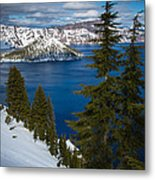 Winter At Crater Lake Metal Print