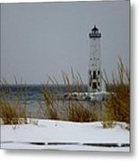 Winter At Frankfort Lighthouse Metal Print