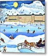 Winter At Lake Louise Chateau Metal Print