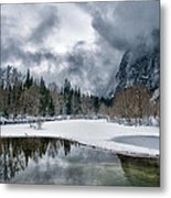 Winter At Swinging Bridge Metal Print