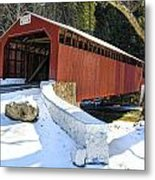 Winter At The Little Gap Covered Bridge Metal Print