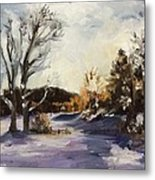 Winter At The River House Metal Print
