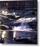 Winter At The Woodlands Waterfall In Wilkes Barre Metal Print
