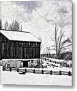 Winter Barn Impasto Version Metal Print
