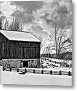 Winter Barn Monochrome Metal Print