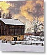 Winter Barn - Paint Metal Print