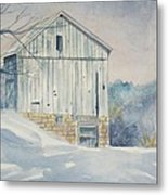 watercolor print Winter Barn painting for sale Metal Print