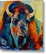 Winter Bison Metal Print