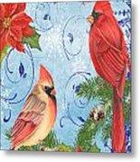 Winter Blue Cardinals-joy Card Metal Print