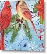 Winter Blue Cardinals-peace Card Metal Print