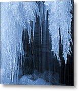 Winter Blues - Frozen Waterfall Detail Metal Print