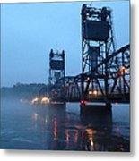 Winter Bridge In Fog Metal Print
