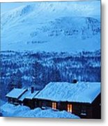 Winter Cabin Arctic Alpinglow Metal Print