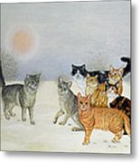Winter Cats Metal Print