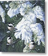 Winter Chickadees Metal Print