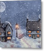 Winter Cottages In Snow Metal Print