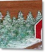 Winter Covered Bridge Metal Print