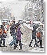 Winter Crossing Metal Print