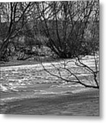 winter day BW-Black and white presentation of Snow on a frozen creek south  Metal Print
