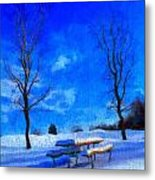 Winter Day On Canvas Metal Print