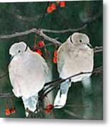 Winter Doves Metal Print