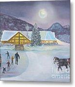 Winter Evening At Evergreen Lakehouse Metal Print