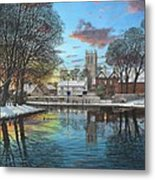 Winter Evening Tickhill Yorkshire Metal Print