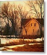 Winter Farhouse Metal Print