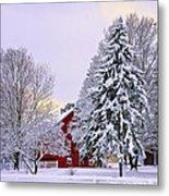 Winter Farm Scene Metal Print