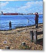 Winter Fishing At Weston Shore Southampton Metal Print
