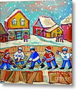Winter Fun At Hockey Rink Magical Montreal Memories Rink Hockey Our National Pastime Falling Snow   Metal Print