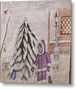 Winter Fun In Fort Hill Metal Print by Diane Mitchell