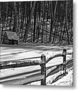 Winter Hut In Black And White Metal Print