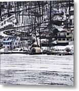 Winter Ice Lake Scene Hopatcong Covered Port Metal Print