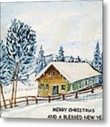 Winter Idyll With Text Metal Print