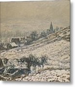 Winter In Giverny Metal Print