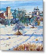 Winter In Lourmarin Metal Print