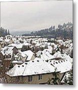 Winter In Residential Suburban City Metal Print