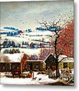 Winter In The Country Folk Art Metal Print