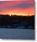 Winter Lake Sunset Metal Print