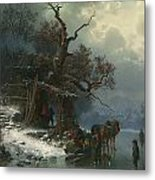 Winter Landscape With Figures On A Frozen River Metal Print by Heinrich Hofer