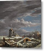 Winter Landscape With Figures On A Path Metal Print