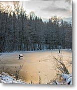 Winter Landscape With Frozen Lake And Warm Evening Twilight Metal Print