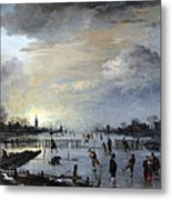 Winter Landscape With Skaters Metal Print by Gianfranco Weiss